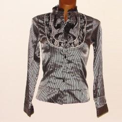 Camisa mujer rallas negra-plata ME Fashion
